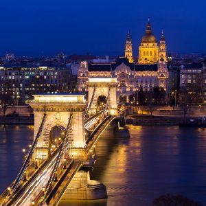 ponte, ungheria, budapest, notte, illuminazione, fiume