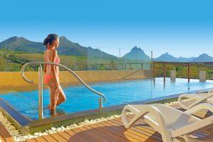 hotel, benessere, isola, mauritius, piscina, donna, bikini, spa