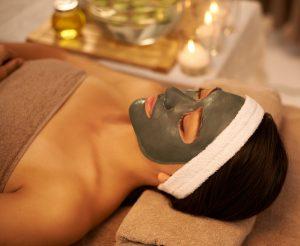 viso, trattamento, donna, spa, fango, candele, relax
