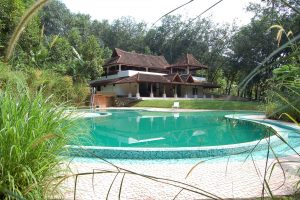 Vista della piscina e del villaggio immerso nella natura e giungla del Kerala in India.