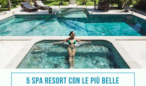 Una donna si rilassa nella piscina privata di un hotel in mezzo al verde e alla natura.