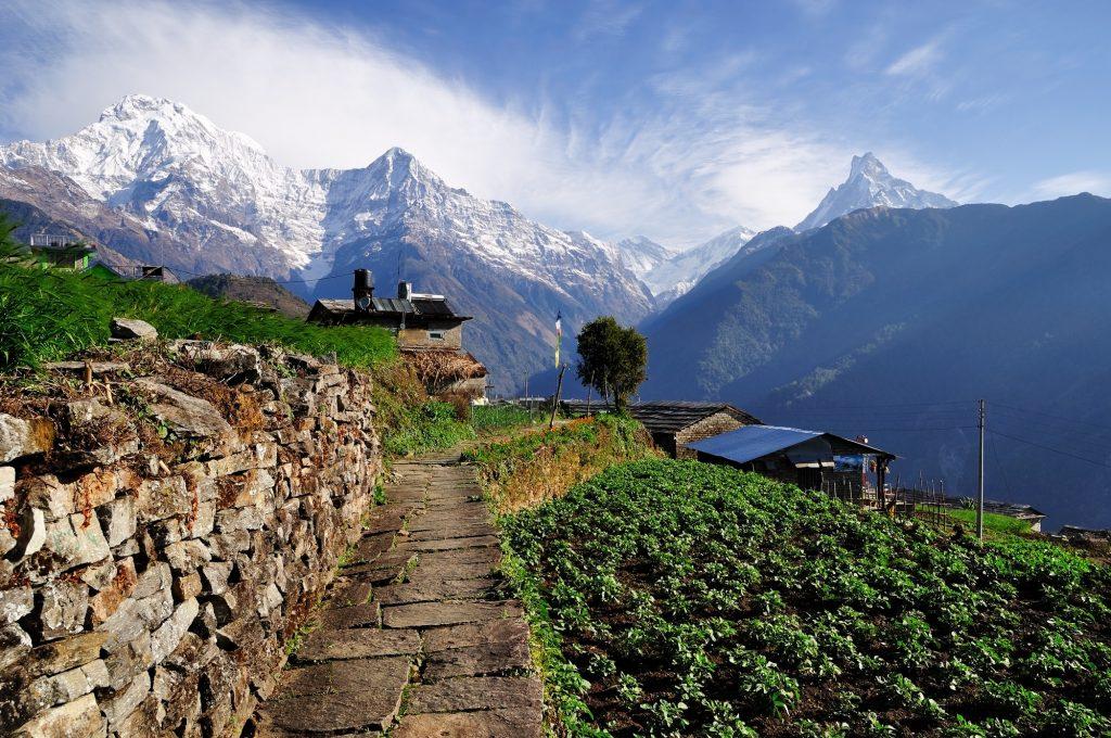 Vista di un tempio in Nepal