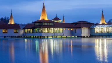 lago, heviz, lago termale, ungheria, centro termale, notte