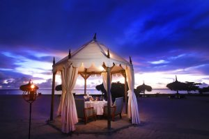 mauritius, hotel, spa, resort, isola, oceano, spiaggia, romanticismo, sera, gazebo