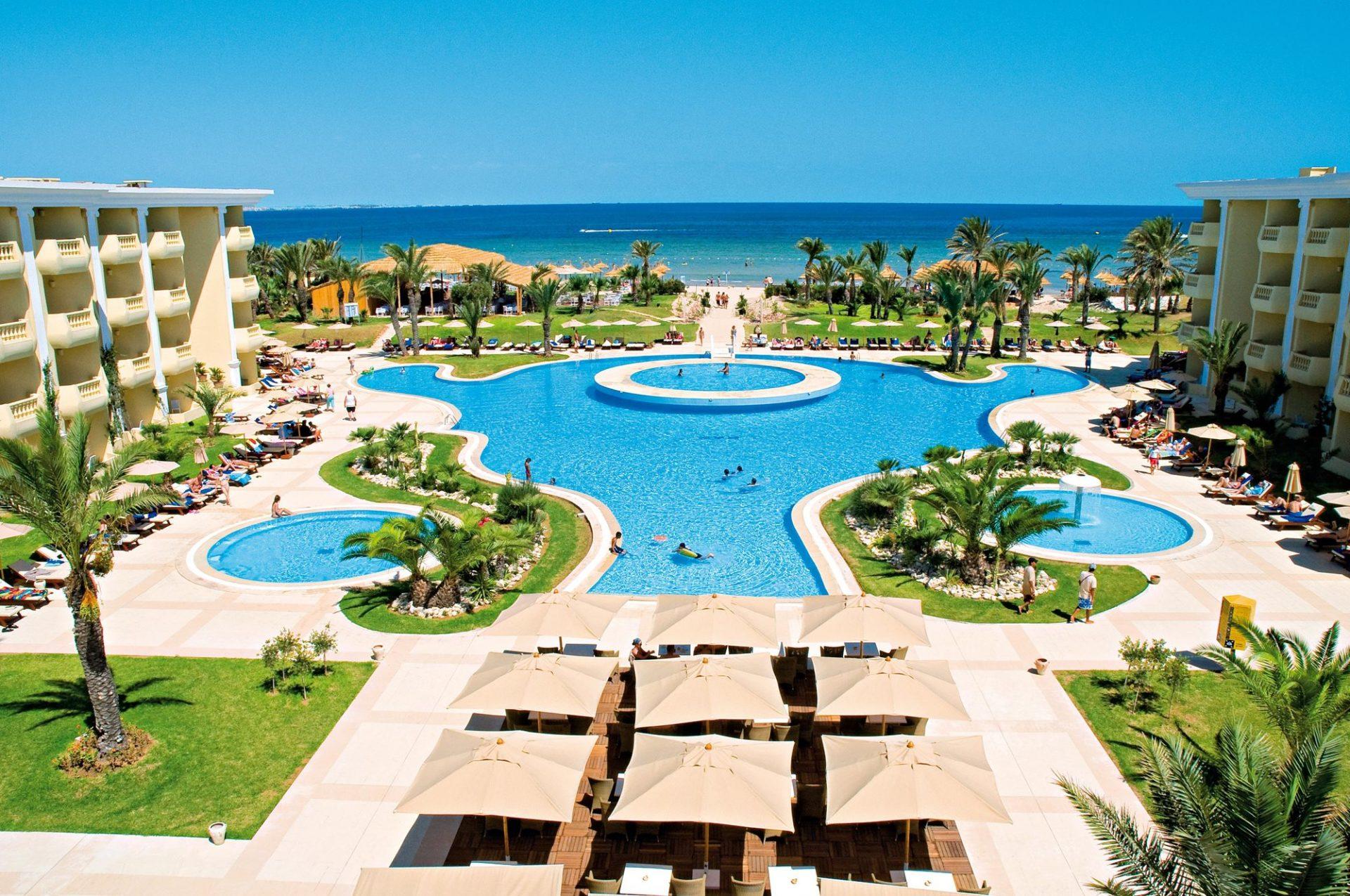 hotel, tunisia, africa, spiaggia, mare, sdraio, piscina, palme, estate, vacanze