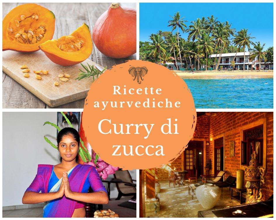 Zucche per curry, spiaggia indiana con palmene Oceano, donna indiana, intenro hotel ayurveda